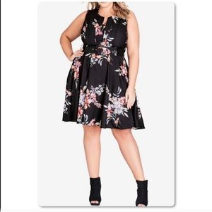 Floral sleeveless belted dress 16W